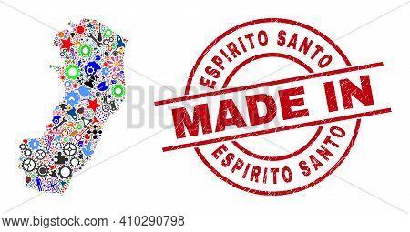Technical Espirito Santo State Map Mosaic And Made In Textured Rubber Stamp. Espirito Santo State Ma