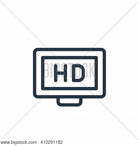 high definition icon isolated on white background from online learning collection. high definition i