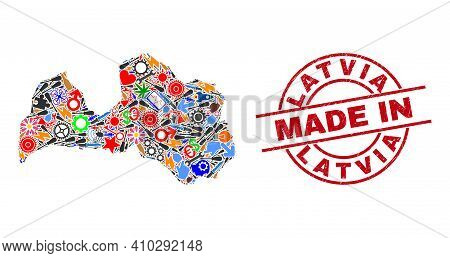 Production Mosaic Latvia Map And Made In Textured Stamp. Latvia Map Collage Composed With Spanners,