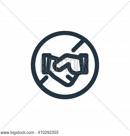 hand shake icon isolated on white background from coronavirus collection. hand shake icon thin line