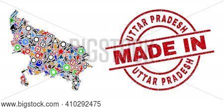 Development Uttar Pradesh State Map Mosaic And Made In Grunge Rubber Stamp. Uttar Pradesh State Map