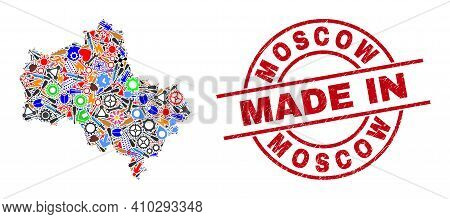 Engineering Mosaic Moscow Region Map And Made In Scratched Rubber Stamp. Moscow Region Map Mosaic Cr