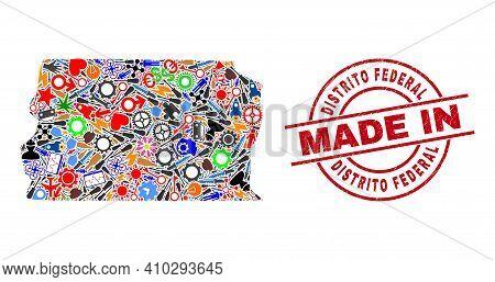 Service Brazil Distrito Federal Map Mosaic And Made In Distress Stamp Seal. Brazil Distrito Federal