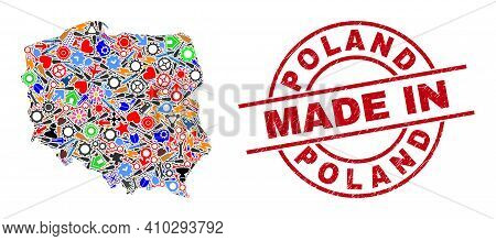 Technical Poland Map Mosaic And Made In Distress Rubber Stamp. Poland Map Composition Composed With