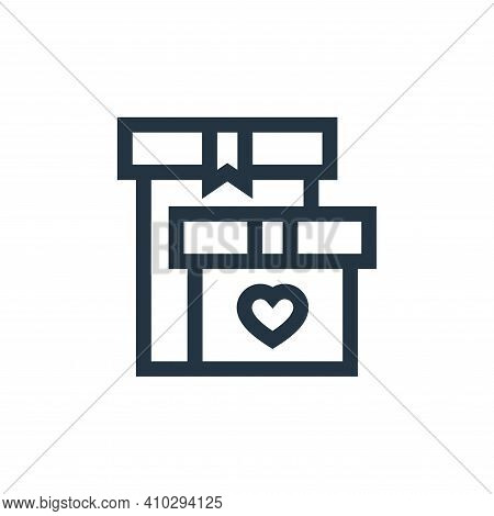 gift box icon isolated on white background from charity collection. gift box icon thin line outline