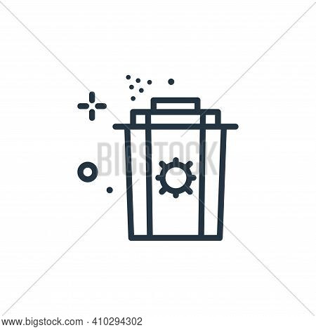 garbage icon isolated on white background from coronavirus collection. garbage icon thin line outlin