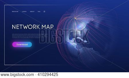 Global Social Network. Abstract Vector Background. Web Design Network Map World Globe Vector. Digita