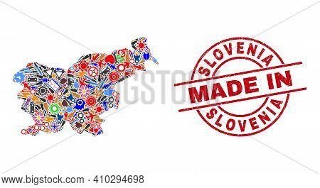 Education Slovenia Map Mosaic And Made In Grunge Rubber Stamp. Slovenia Map Abstraction Formed With
