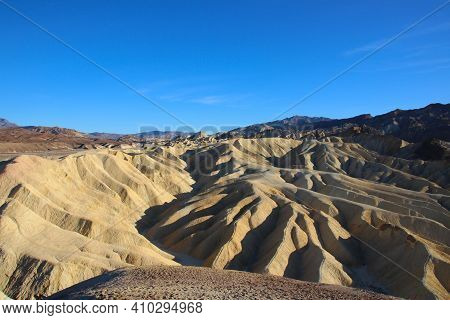 The World Famous Zabriskie Point, Located In Death Valley National Park Usa