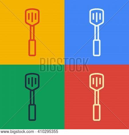 Pop Art Line Barbecue Spatula Icon Isolated On Color Background. Kitchen Spatula Icon. Bbq Spatula S