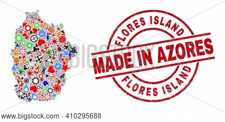 Science Flores Island Of Azores Map Mosaic And Made In Textured Rubber Stamp. Flores Island Of Azore
