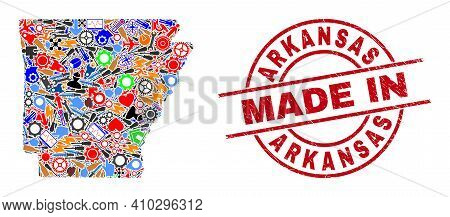 Industrial Arkansas State Map Mosaic And Made In Distress Stamp Seal. Arkansas State Map Collage For