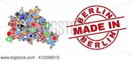 Science Berlin City Map Mosaic And Made In Distress Rubber Stamp. Berlin City Map Composition Design