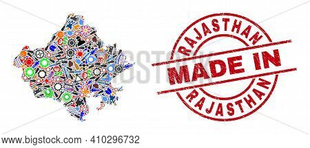 Development Mosaic Rajasthan State Map And Made In Distress Rubber Stamp. Rajasthan State Map Abstra