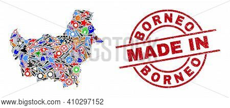 Industrial Mosaic Borneo Map And Made In Grunge Seal. Borneo Map Collage Composed With Spanners, Gea