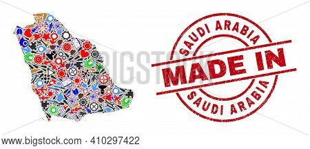 Industrial Mosaic Saudi Arabia Map And Made In Scratched Stamp. Saudi Arabia Map Collage Created Wit