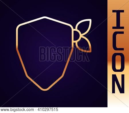 Gold Line Vandal Icon Isolated On Black Background. Vector