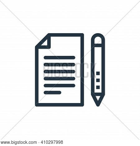 document icon isolated on white background from business collection. document icon thin line outline