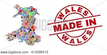 Component Mosaic Wales Map And Made In Grunge Rubber Stamp. Wales Map Mosaic Composed With Wrenches,