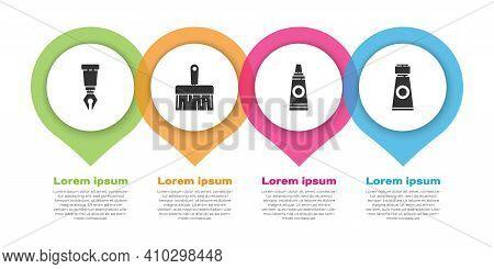 Set Fountain Pen Nib, Paint Brush, Tube With Paint Palette And Tube With Paint Palette. Business Inf