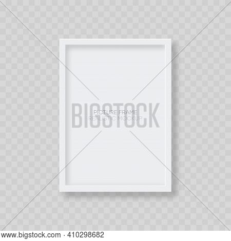 Picture Frame Mockup. Realistic Blank Vertical White Picture Frame Template With Shadow Isolated On