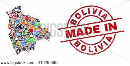 Technical Bolivia Map Mosaic And Made In Distress Rubber Stamp. Bolivia Map Abstraction Composed Wit