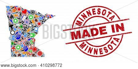 Education Minnesota State Map Mosaic And Made In Textured Rubber Stamp. Minnesota State Map Collage