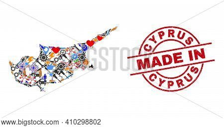 Engineering Mosaic Cyprus Map And Made In Distress Rubber Stamp. Cyprus Map Mosaic Formed From Spann