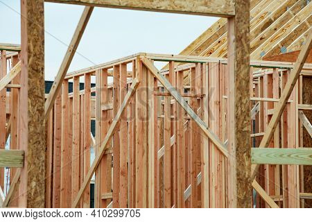 Frame Of A New Home Wood Real Site