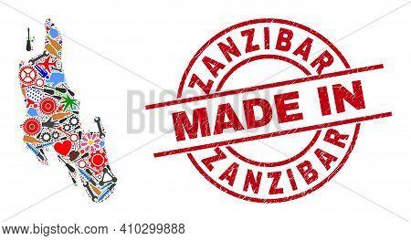 Science Zanzibar Island Map Mosaic And Made In Scratched Rubber Stamp. Zanzibar Island Map Mosaic Fo