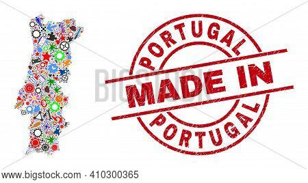 Engineering Mosaic Portugal Map And Made In Textured Rubber Stamp. Portugal Map Mosaic Formed From W