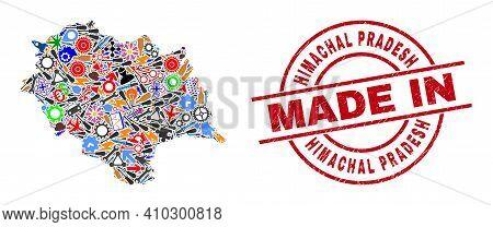 Engineering Mosaic Himachal Pradesh State Map And Made In Grunge Seal. Himachal Pradesh State Map Co