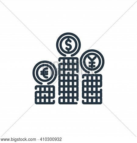 coins icon isolated on white background from banking and money collection. coins icon thin line outl