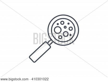 Magnifying Glass Used To Enlarge And Examine Microbes In An Industrial, Medical Or Science Laborator