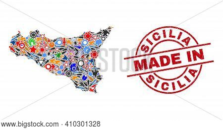 Education Mosaic Sicilia Map And Made In Distress Rubber Stamp. Sicilia Map Mosaic Formed With Spann