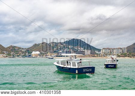 Cabo San Lucas, Mexico - October 13 2019: Tender Boats To Transport Passengers Between Cruise Ships