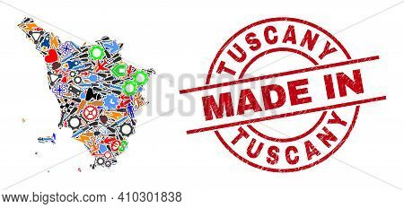 Industrial Mosaic Tuscany Region Map And Made In Textured Rubber Stamp. Tuscany Region Map Collage D