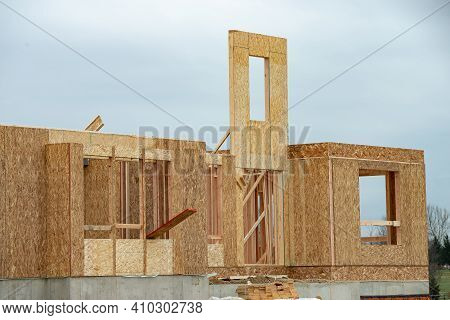 Plywood Construction House New Frame Window Wall