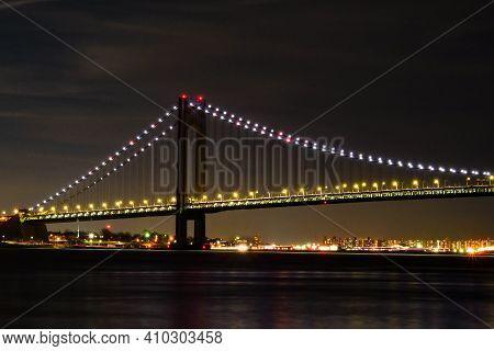 Verrazzano-narrows Bridge At Night From Staten Island