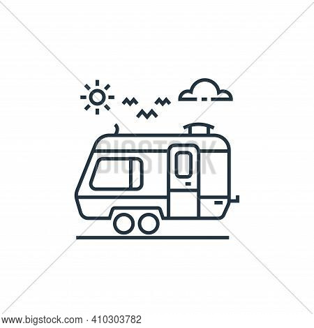 caravan icon isolated on white background from tourism collection. caravan icon thin line outline li