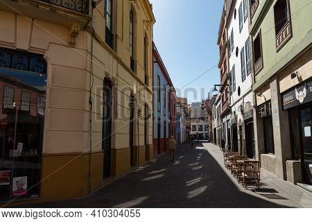 San Cristobal De La Laguna, Spain - January 16, 2020: Pedestrian Street In San Cristobal De La Lagun