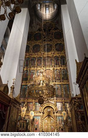 Interior Of The Trinity Cathedral In The Pskov Kremlin. The Current Cathedral Was Built In 1682-1699