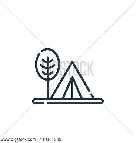 camping tent icon isolated on white background from hippies collection. camping tent icon thin line