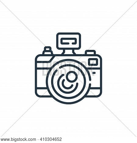 camera icon isolated on white background from social media collection. camera icon thin line outline