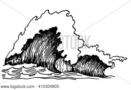 Sea Wave Sketch. Outline Of Sea Wave. Vintage Hand Drawn Ocean Tidal Storm Waves Isolated On White B