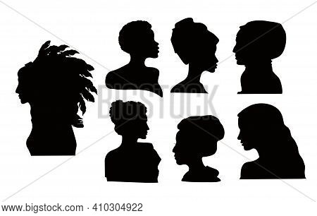 Silhouette Profile Group Of A Women Of Diverse Culture. Diversity Multi-ethnic And Multiracial Peopl