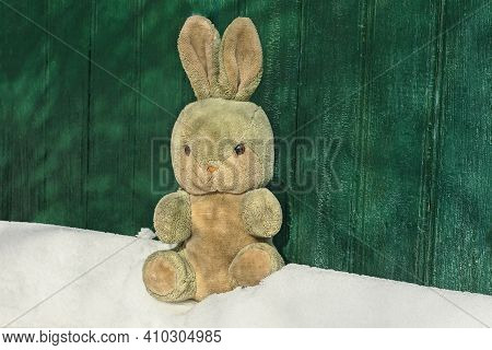 One Old Plush Toy Hare Sits On A White Snowdrift Near A Green Wooden Wall On A Winter Street