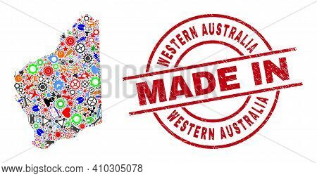 Education Western Australia Map Mosaic And Made In Grunge Rubber Stamp. Western Australia Map Mosaic