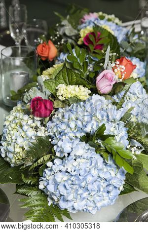 Social Events Room Decorated With Hydrangea Flowers.