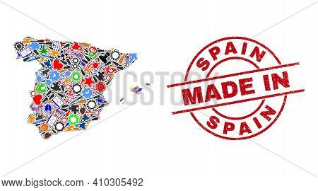 Service Spain Map Mosaic And Made In Distress Rubber Stamp. Spain Map Abstraction Composed With Span